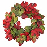 front door color ideas Wreath Maple Leaves Garland Artificial Round Front Door Wall Window Decoration Rich Colors Home Deco 33 Inches Dark Green