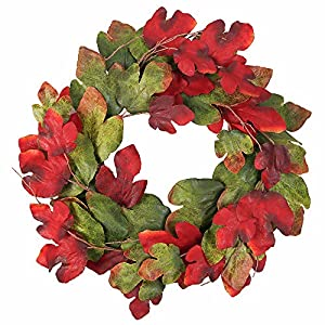 Cloris Art Artificial Round Leaf Wreath 33 Inches Front Door Wall Window Decor Rich Fall Colors for Covered Outdoor Use 73