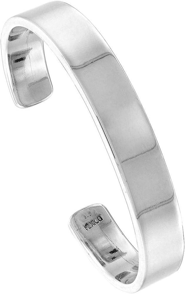 Sterling Silver Cuff Bracelet Flat Heavy Weight Handmade 7 inch Size