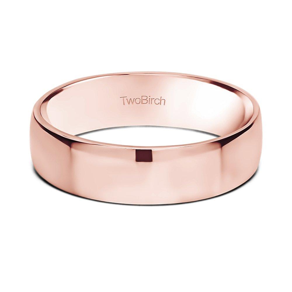 14k Gold or Platinum 5.5 Millimeter Wide Plain Men\'s Wedding Ring ...