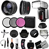 Premium 58mm Accessory Kit for CANON, NIKON, FUJIFILM, SONY, OLYMPUS, SAMSUNG, PANASONIC, PENTAX, and LEICA DSLR Cameras - Includes: High Definition Wide Angle Lens with Macro Closeup feature, + High Definition 2X Telephoto Lens + Professional Speedlight Flash + 3 Piece HD Filter Set + + Ring Adapters to from 46-62mm + 58mm Tulip shaped Hard Lens Hood + 58mm Soft Rubber Lens Hood + 58mm Lens Cap + Universal Card Reader + Mini Table Tripod + Memory Case Holder + Screen Protectors + Mini Blower + Cleaning Pen + Lens Cap Holder + Deluxe Cleaning Kit + Ultra Fine HeroFiber Cleaning Cloth