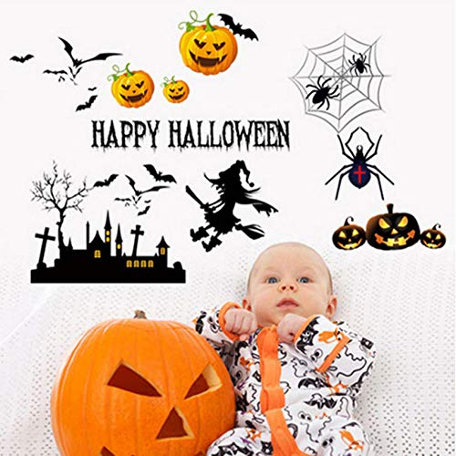 huaxiazu Happy Halloween Cartoon Yellow Pumpkin Wall Sticker Home Decor, Living Room, Bathroom, Children's Room Wallpaper 66 X 48 cm