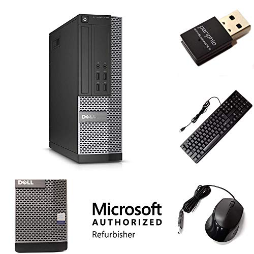 Desktop Computer PC Compatible With Dell OptiPlex 7020, Quad Core i5 3.3GHz, 8GB RAM, 1TB HDD, DVD, Keyboard, Mouse, New Periphio WiFi and Bluetooth, Windows 10 Professional (Renewed)
