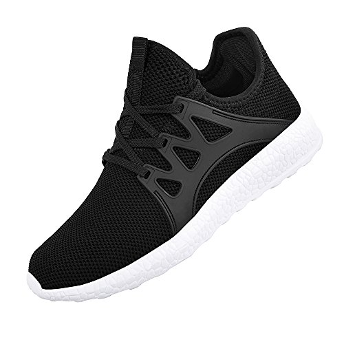 (QANSI Men's Sneaker Fashion Casual Shoes FlyKnittted Flexible Athletic Sports Running Gym Shoes Black/White Size 10.5 M US)