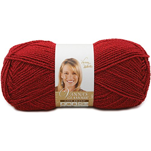(Lion Brand Yarn 861-114 Vanna's Glamour Yarn, Red Stone)