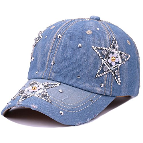(CRUOXIBB Women Cotton Cap Rhinestone Flower Fashion Baseball Hat (Stars))