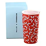 PAUL JOE STARBUCKS 12oz Double Wall Mug Red Coral Butterfly Sakura Collector HTF