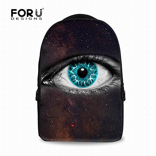 Cool Contact Lenses (FOR U DESIGNS Large Fashion Khika Eye Creative Design Printed Schoolbags Back to School for College Teens Outdoor Backpack)