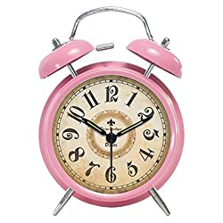 Foyou Retro Metal Analog Quartz Silent Twin Bell Alarm Clock with Nightlight and Loud Alarm ( Arabic Numerals, Pink )