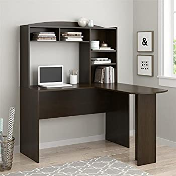 Ameriwood HomeDakota Space SavingL Desk with Hutch, Dark Russet Cherry