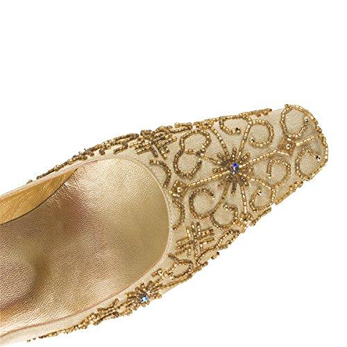 FARFALLA Beaded Court Shoes (Gold, 4UK/37EU)
