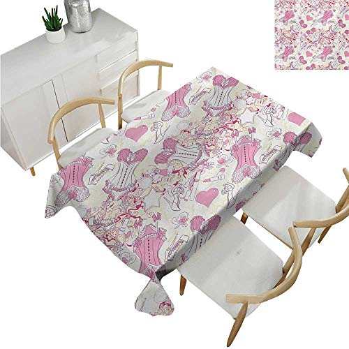 familytaste Girls,Rectangular Table Cloth,Old-Fashioned Female Sexy Corset Accessories Vintage Girls Room Floral Design Print,Modern Washable Tablecovers 60