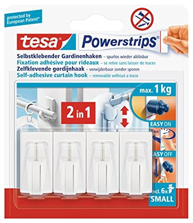 Tesa Vario Crochets à rideaux Power-Strips 4 pièces (Import Allemagne) 58034-00007-01 Fixation