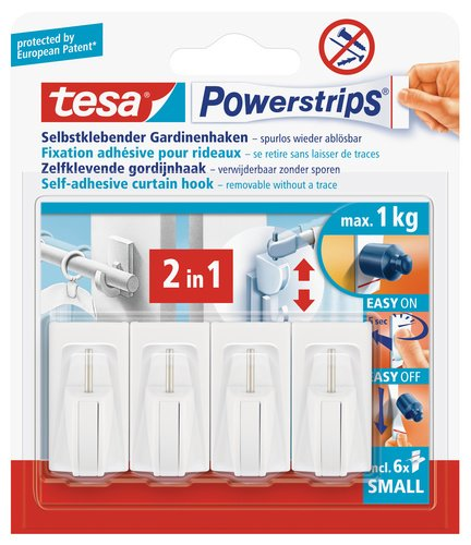tesa 58034 Net Curtain Hooks White with Self Adhesive and Removable Powerstrips (4 Hooks) by tesa UK 58034-00007-01