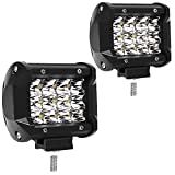 WEISIJI LED Work Light Bar,IP68 Waterproof LED Driving Light Spot Beam Off Road Lights for ATV Jeep Wrangler Trailer Fishing Boat Tractor(2Pcs 4Inch 36W)