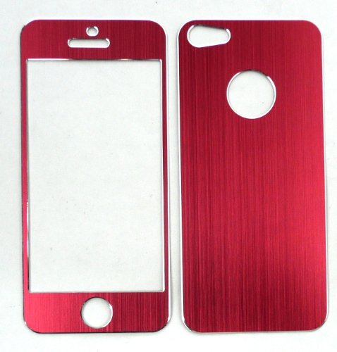Emartbuy® Apple Iphone 5 5s Lcd Displayschutzfolie Und Gebürstet Alumimium Effect Front-Und Back Sticker / Case / Cover Rot