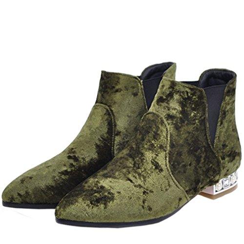 Enmayer Vrouwen Pleuche Materiaal Sleehak Hak Puntige Neus Slip Op Ankel Boots Groen