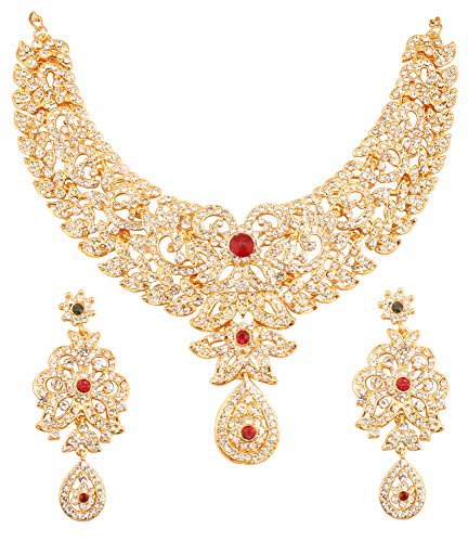 Touchstone Hollywood Glamour White Pretty Filigree Rhinestone Studded Diamond Look Designer Bridal Jewelry hasli Necklace Set for Women in Antique Gold Tone (Gold with Center - Gold Necklace Antique Red