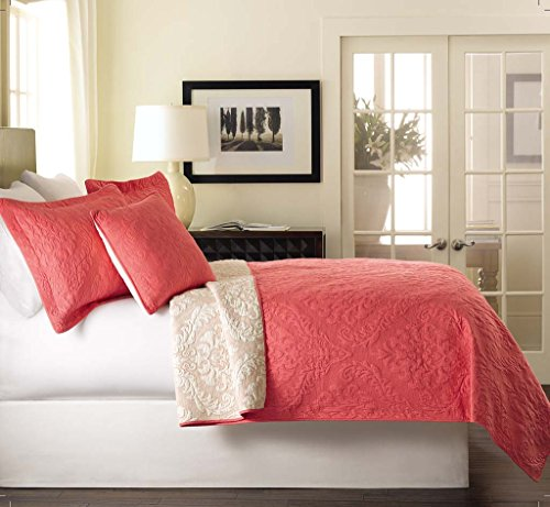Tache Solid Coral Matelasse Bedspread - Luxembourg Coral - 3 Piece Solid Rose Salmon Pink Reversible Coverlet Set, King