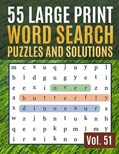55 Large Print Word Search Puzzles and Solutions: Activity Book for Adults and kids | Word Search Puzzle: Wordsearch puzzle books for adults entertainment Large Print (Find Words for Adults & Seniors) (Scrabble Best Word Finder Board)