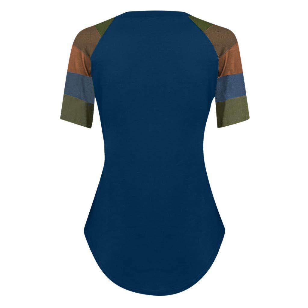 AOJIAN T Shirt Women Short Sleeve Patchwork O Neck Tunic Shirts Blouse Tanks Vest Tops at Amazon Womens Clothing store: