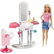 Barbie Quiero Ser Peluquera - muñeca, accesorios y salón de belleza (Mattel FJB36)
