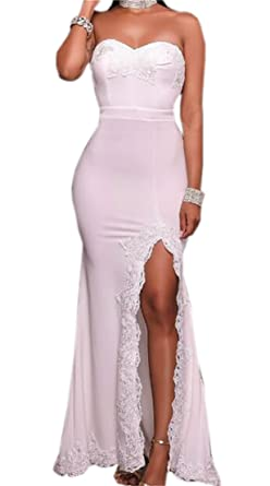 Nanquan-women clothes NQ Womens Sweetheart Lace Long Bridesmaid Prom Dress Wedding Party Gown White