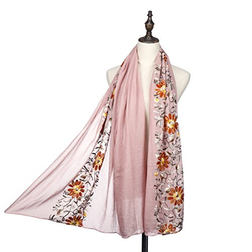 Women Fashion Scarf Shawl Wrap,RiscaWin Colorful Lightweight Exquisite Daisy Flower Embroidered Scarves (Cotton Embroidered Wrap)