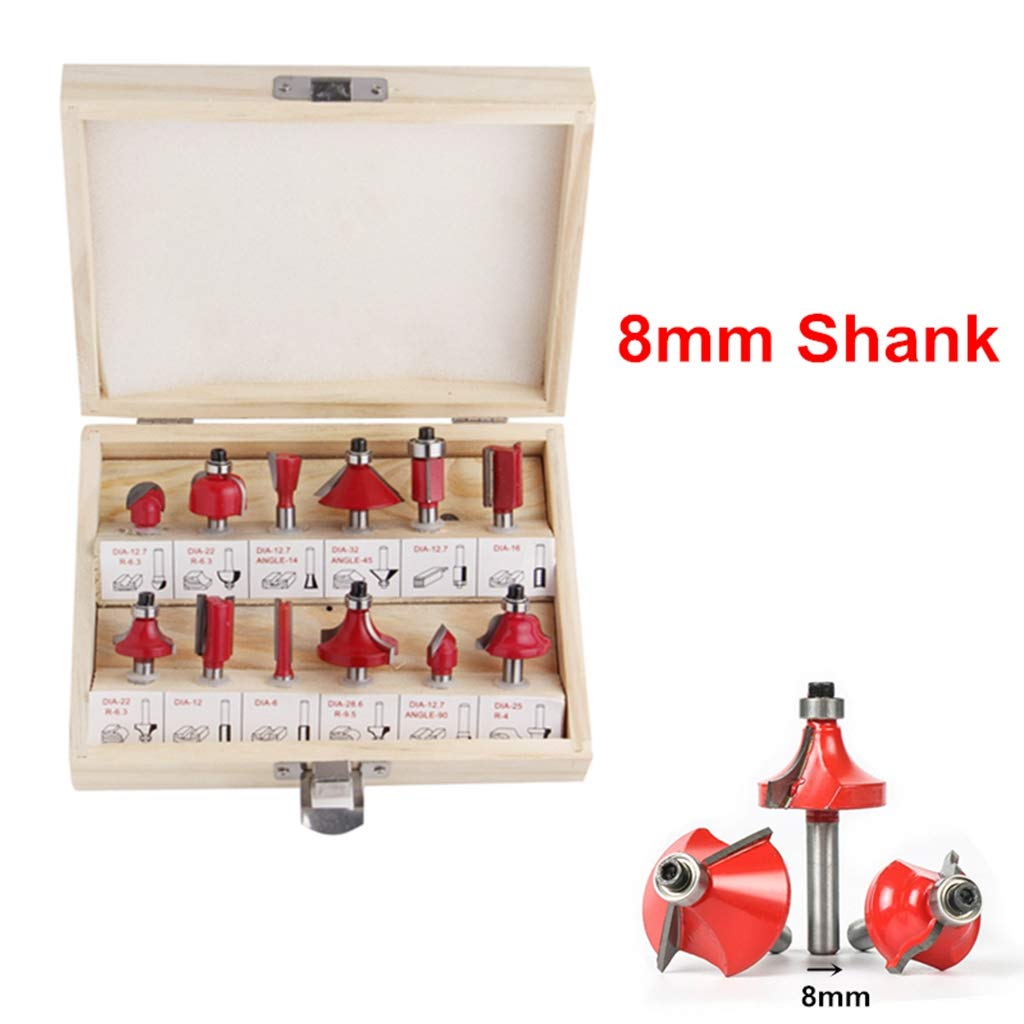 "15 PC Router Bit Set 1//4/"" Shank  Wood Working Trimming Engraving Carving Tool"