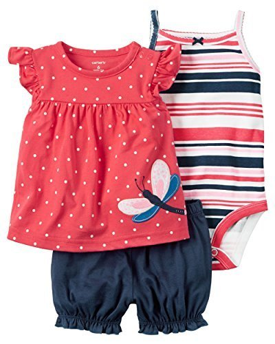 Carter's Baby Girls 3-Piece Bodysuit & Diaper Cover Set (Butterfly) (Newborn)