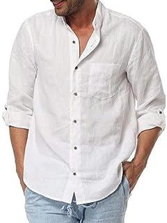 Amazon.com: Camisa de manga larga para hombre, cuello de ...