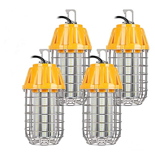 LEONLITE High Bay LED Temporary Work Light Fixture, 8400Lm, 5000K Daylight, 60W (550W Eqv.), IP65 Dust & Waterproof, Stainless Steel Guard, Plug-n-Play, DLC & UL-Listed, 5 Years Warranty, Pack of 4 ()