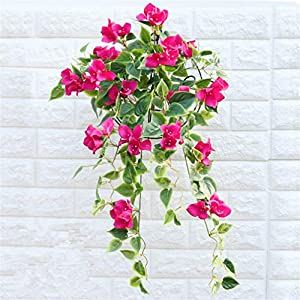 Mynse Hanging Artificial Flower Bougainvillea Glabra for Balcony Outdoor Decoration (2 Pieces) 114