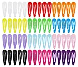 Hipgirl 60 Piece 2 Inch Metal Snap Hair Clips for Hair Bow-Grosgrain Ribbon No Slip Grip Metal Barrettes for Toddler Girls Teens Babies Children Kids Women Adults Beauty Accessories Assorted Color