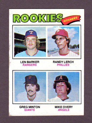 1977 Topps Baseball Rookie Pitchers (Len Barker) / Greg Minton) / (Randy Leach) / (Mike - Minton Pitcher