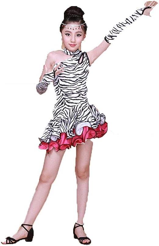 Faldas de danza para niña, Kid Girls Un Hombro Ruffle Stripe ...