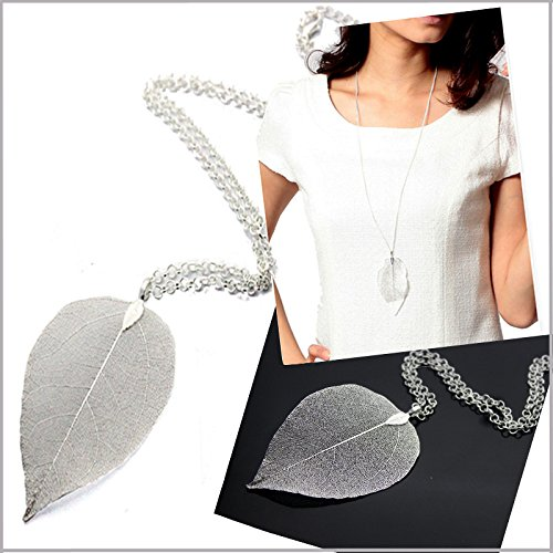 Leaf Necklace Bohemian Pure Natural Leaf Charm Pendant Long Chain Necklace Valentine's Day Gifts by ZSE Jewelry