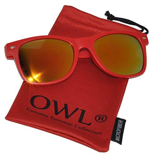 Retro 80's Vintage Full Mirror Gold Lens Sunglasses Red Matte Frame