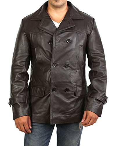 A1 FASHION GOODS Mens Double Breasted Trench Brown Leather Jacket Fitted Military Coat - Ernest (Large)