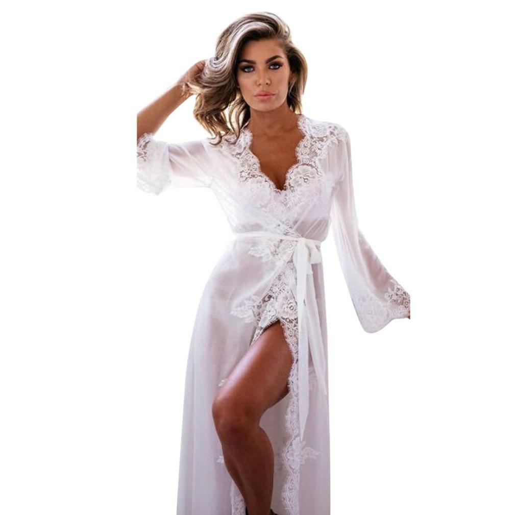 AIMEE7 Femme V/êtements de Nuit Robe de Chambre Kimono Dentelle Peignoirs de Robe Pajamas Chemise