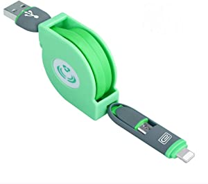 Telescopic 2 or 1 cable Apple android universal charging line stretch dual function (Green)