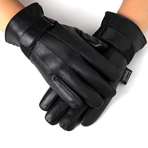 Alpine Swiss Mens Gloves Dressy Genuine Leather Warm Thermal Lined Wrist Strap