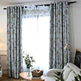 WPKIRA Blackout Curtains Room Darkening Thermal Insulated Grommet Top Window Treatment Drapes Printed Colorful Flowers and Little Birds Country Curtains for Living Room, 1 Panel W40 x L96 inch