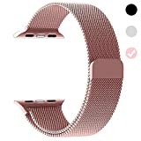 Ferdery Stainless Steel Band Mesh Milanese Loop Bracelet Strap Replacement Band with Magnetic Closure Clasp for Apple Watch Series 1 Series 2 Series 3 Edition RoseGold 38mm