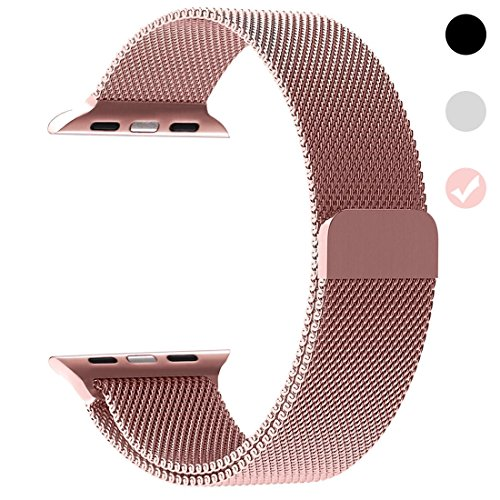 Price comparison product image Ferdery Stainless Steel Band Mesh Milanese Loop Bracelet Strap Replacement Band with Magnetic Closure Clasp for Apple Watch Series 1 Series 2 Series 3 Edition RoseGold 38mm