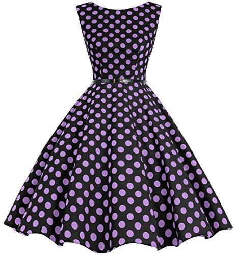 Black Dot Retro Rockabilly Vestidos Clásico Bbonlinedress Vintage Purple Big 50s HAwFqqYZ
