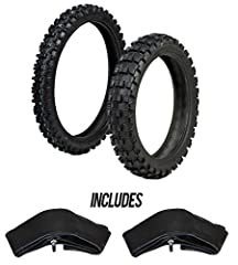 This ProTrax Tire & Tube Combo Kit includes: 1 Front Tire 80/100-21 INCH 1 Rear Tire 110/100-18 INCH 1 Front Tube 2.75-3.00 X 21 INCH 1 Rear Tube 100/110/120 X 18 INCH  ProTrax SG Tires: Designed for Intermediate/Hard terrain. Large cent...