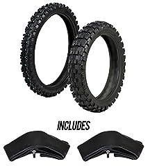 This ProTrax Tire & Tube Combo Kit includes: 1 Front Tire - 80/100-21 INCH 1 Rear Tire - 110/100-18 INCH 1 Front Tube - 2.75-3.00 X 21 INCH 1 Rear Tube - 100/110/120 X 18 INCH  ProTrax SG Tires: Designed for Intermediate/Hard terrain. La...