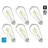 Hyperikon ST64 LED Vintage Filament Bulb, 5W (40W Equivalent), 520 lumen, 3000K (Soft White Glow), 340° Omnidirectional, Medium Base (E26), IC Driver, CRI 80+, 120v, Dimmable, UL-Listed - (Pack of 6)