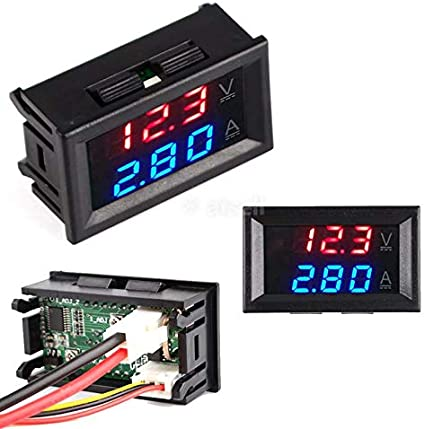 CALISTOUK DC 0-100V 10A LED rojo azul doble pantalla digital amperímetro de voltaje para uso doméstico, rojo + azul y 10 A